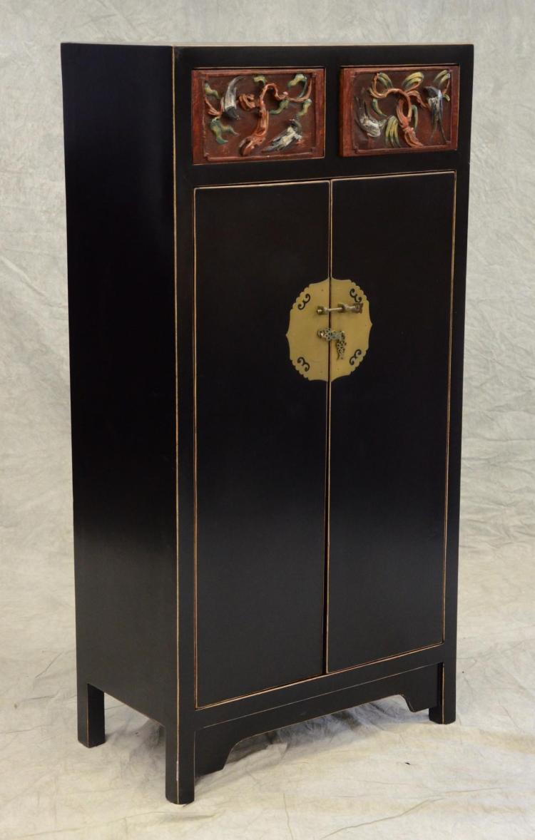 Asian Chinoiserie Style 2 Drawer Over 2 Door Cabinet 55 1 4