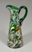 Green glass ewer with enameled and gilt decoration, signed possibly Cire Royo, applied handle, polished pontil, 7-3/4
