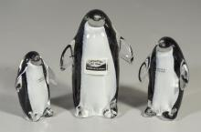 Three (3) Carpathian art glass penguin figurines, original label, made in Poland, tallest 6-1/4