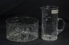 Two (2) pieces Nuutagarvie Floral pattern Arabia Finland mid-century glass, including pitcher 9-1/4