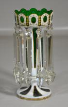 White cut to green overlay lustre with gilding and mismatched prisms, missing one prism, others with chips, 11 1/2