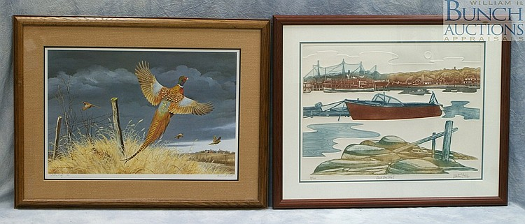 (2) items, Martin Tobias, American, b 1932, limited edition engraving on embossed paper,