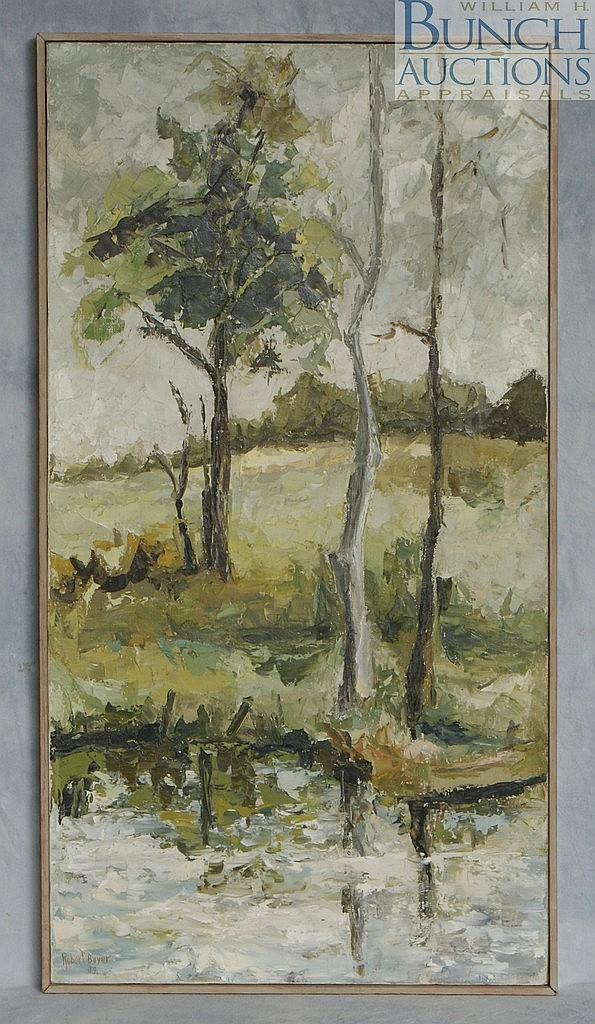 Robert Boyer, American, 20th c, o/c, Wooded Scene, signed and dated 1959, 34