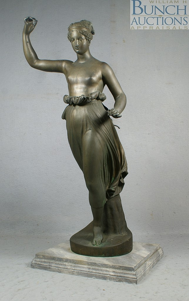 Bendetto Boschetti, Italian, 19th c, bronze classical figure of a bare breasted woman on later marbleized wood base, signed B Bosche...
