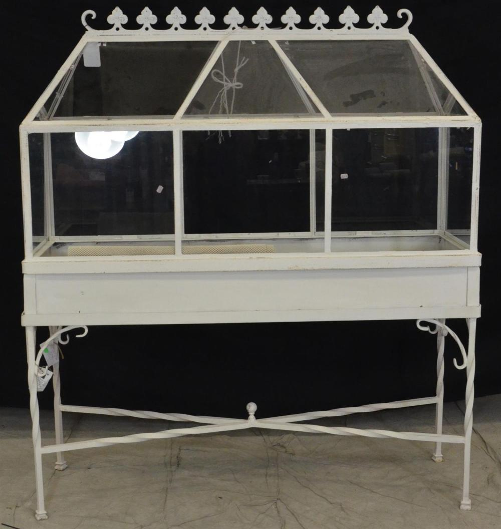 Sold Price Wrought Iron Painted Terrarium Glass Paneled Top With Peaked Roof Crest With Fleur De Lis Design Base With Twisted Wrought Iron L June 2 0119 10 00 Am Edt