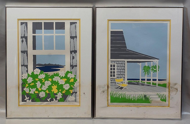 (2) Eric Holch, American, b 1948, serigraph, each measuring: 19