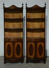 Pair custom Federal style mahogany etageres, crotch mahogany doors with satinwood, each measures 78 1/2