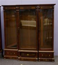 Mission Style 3 part bookcase, mahogany veneer, painted decoration on top, floral inlaid drawers on base, leaded glass doors, 70
