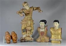 5 Asian wood carvings, including 24