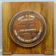 USAF Honorary Spinning Prize Wheel, made for Colonel Robert B Ennis who served from 1949-1978, constructed of solid walnut with carv...