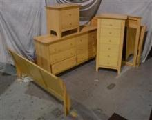 (5) Pc Crawford Manufacturing Co bedroom set, includes bed, tall chest, nightstand, dresser and mirror, blond colored frame, light w...