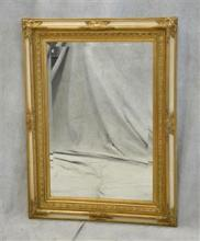 French Style cream & gilt carved hanging wall mirror, gilt carved decoration with cream border, beveled glass mirror, light wear to ...