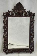 Italian Style distressed painted hanging wall mirror, leaf and plume frame with distressed burgundy painted frame, beveled glass mir...
