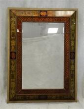 Bombay Montebello reverse painted hanging wall mirror, reverse painted glass panels, beveled glass mirror, 49 1/2