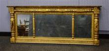 French carved gilt mirror, wood and composition, gilt painted with floral decoration, 25 1/2
