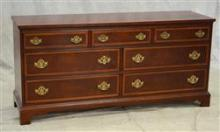 Hickory Furniture Co American Masterpiece Collection mahogany dresser, mahogany with banded drawers, brass hardware, wear to finish,...