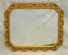 French style gilt carved hanging mirror, gilt painted frame plumes, light wear to gilt, 41 1/2