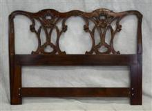 French style carved mahogany headboard, carved floral decoration, light wear, 44