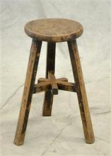 Distressed oak short stool, distressed pegged frame, light wear, 21