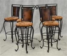 6 Custom ebonized swivel bar stools, ebonized metal frames, camel upholstered seats, swivel bases, light wear, 45