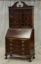 Georgian style ball & claw secretary desk, ball and claw feet, bookcase top, fitted interior, 3 drawers at base, scratches and wear,...