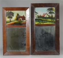 Pair of Mahogany Federal wall mirrors with reverse painted panels, original glass, largest 21
