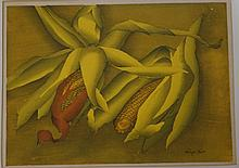 Luigi Rist, American, 1888-1959, colored woodblock print, Dry Corn, signed and titled, 9 1/2
