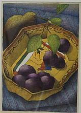 Attributed to Luigi Rist, American, 1888-1959, colored woodblock print, Bowl of Plums, unsigned, 2 sections in center cut out and ba...