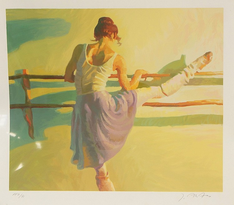 John Asaro, American, 1937- , serigraph, Warming Up, signed and numbered PP 8/40, 22-1/4
