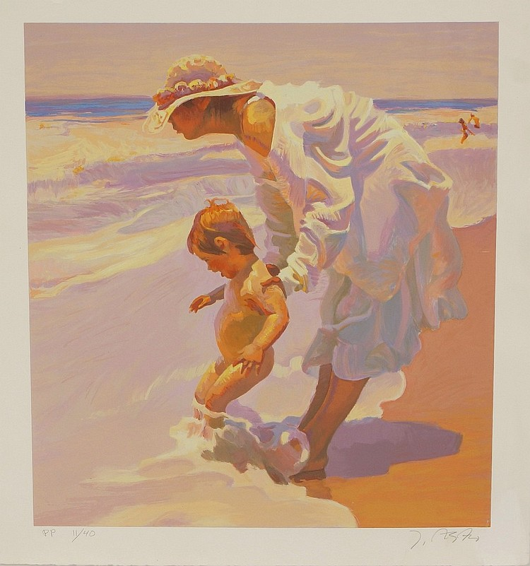 John Asaro, American, 1937- , serigraph, Summer Holiday, signed and numbered PP 11/40, 26-1/4