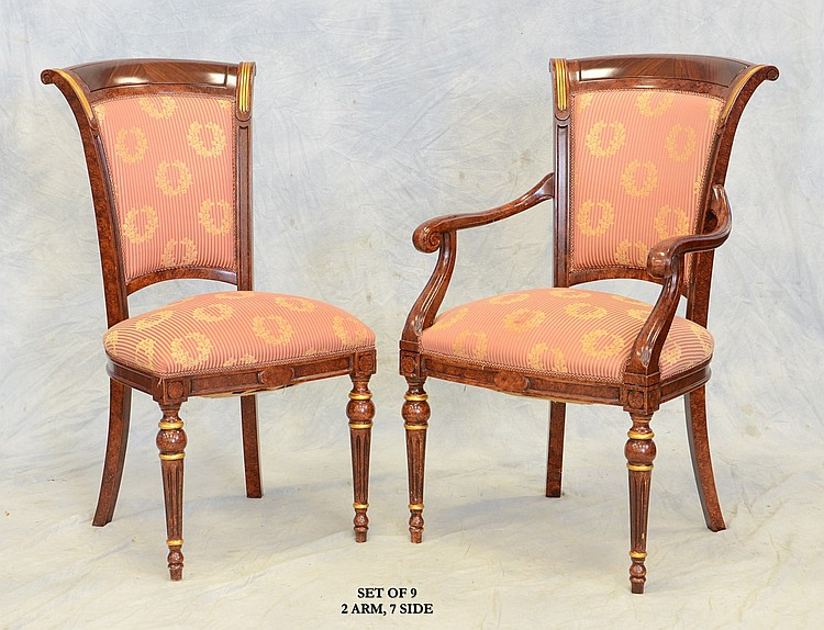 9 french empire style dining room chairs faux burl gilt d for H o rose dining room
