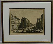 Giuseppe(Joseph) Zocchi (Italian, 1711-1767), etching, Venduta del Ponte a San Trinita, 13
