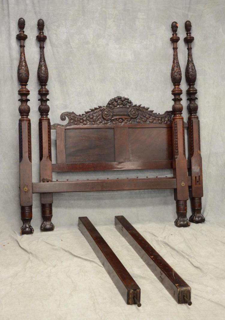 Carved mahogany federal style post bed in the manner of an