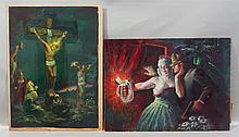 (2) Joseph E Bolden, American, PA, 1902-1979, Each signed upper right, Both unframed: The Crucifixion, Oil on paper mounted on board...