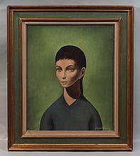 """Jean Pierre Capron, French, 1921-1997, Oil on canvas, Portrait of a Woman, Signed and dated '58 lower right, 17 1/4"""" x 14"""" sight siz.."""