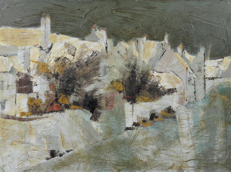 Claude LaCoudre (French, 1935-1988), abstract landscape painting with houses, oil on canvas, signed on back of frame, measures 30