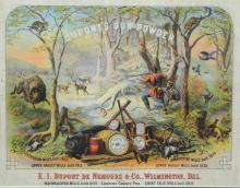 DuPont Gunpowder advertising poster, lithograph on paper, published by Major and Knapp, 21