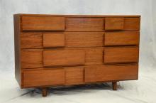 Gio Ponti Design for Singer, 4 drawer figured walnut dresser, 30-1/2