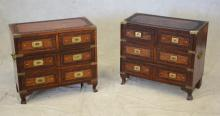 Pr Asian carved & brass inlaid 2 over 2 drawer chests, 24