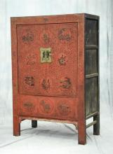 Red & gilt lacquered Asian storage cabinet, 74-3/4
