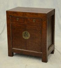 Asian hardwood side cabinet, 2 drawers over 2 doors, 28-3/4