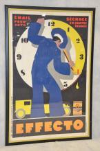 """EFFECTO Automotive poster, """"Email pour auto, séchage en quatre heures"""". 1929 Jean A. MERCIER Affiches Lutetia, Paris - 148x97cm - En..."""