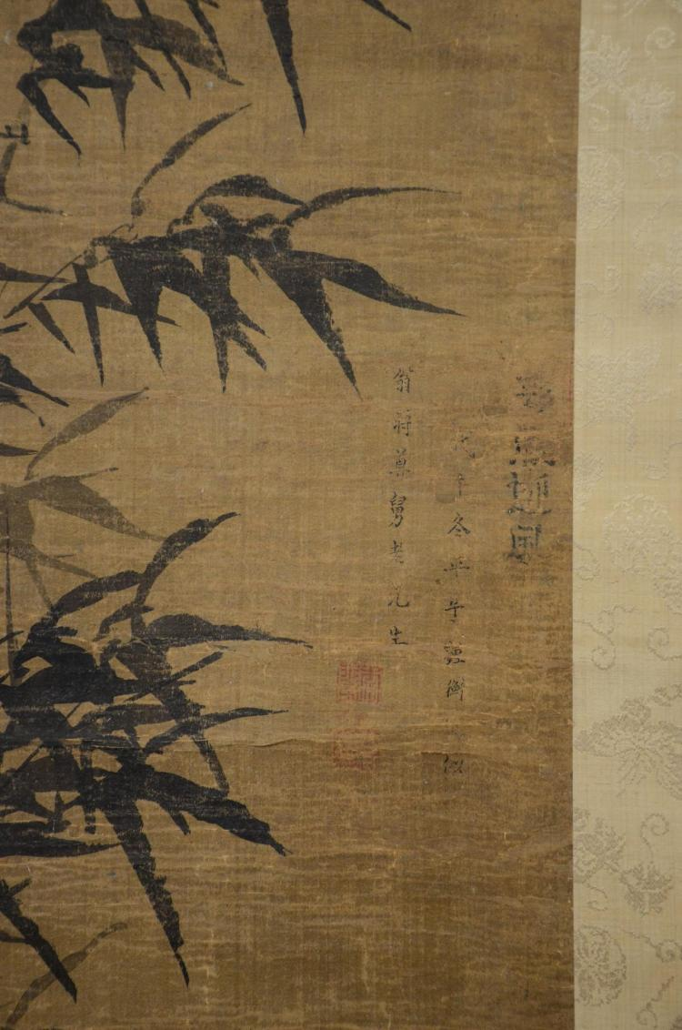 2 Chinese Scrolls One Depicting Bamboo Calligraphy And Sea