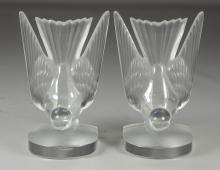 Pair Lalique sparrow bookends, etched Lalique, France, with paper label Made in France, 6-1/4