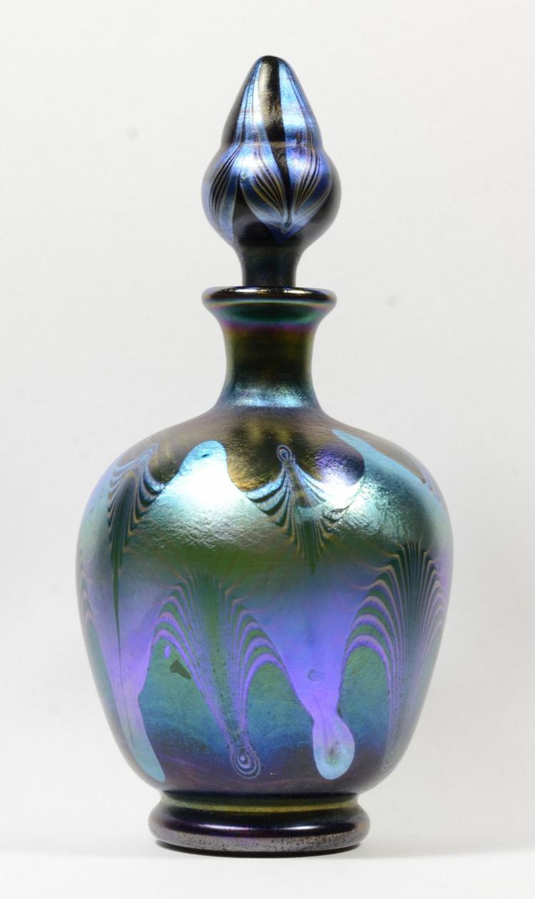 Tiffany favrile art glass perfume bottle blue aurene pulled