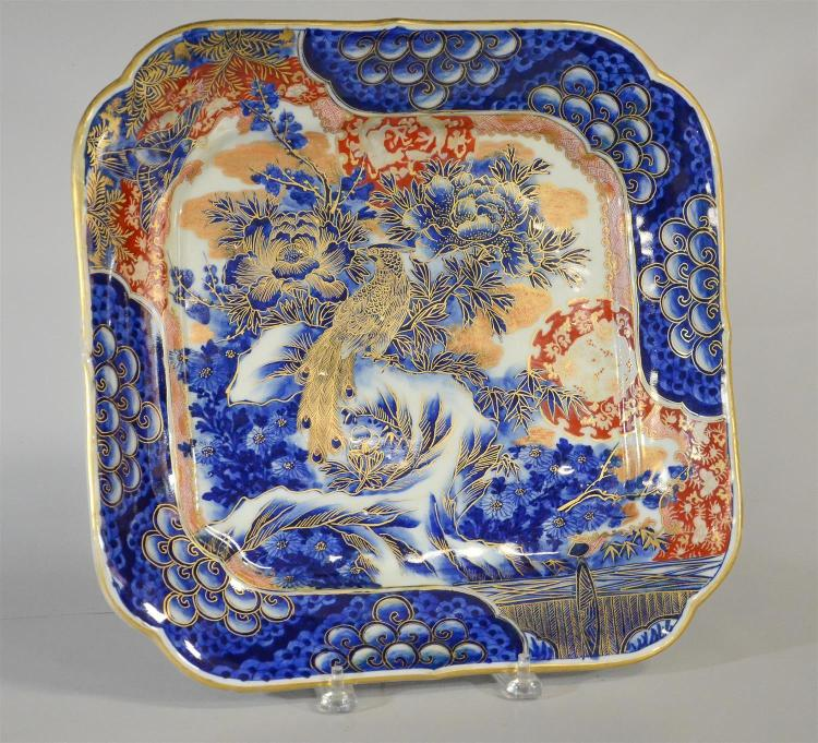 Japanese Arita square charger with peonies and birds, signed, 15
