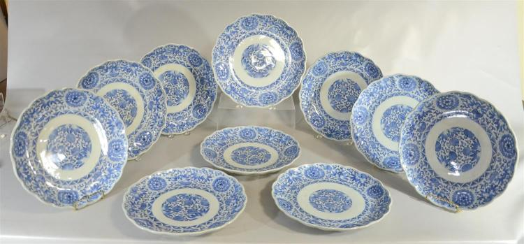 10 Japanese Arita serving plates, late 19th C, handpainted in blue, 12-1/4