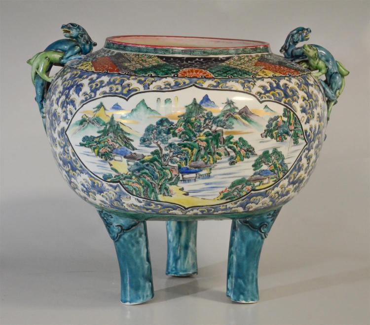 Japanese Kutani jardiniere with scenic scenes dragon handles, heavily restored, signature to base, 15-1/2