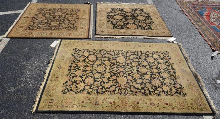 Lot of 3 Indian Jaipur Rugs; one measures 4' X 5'10