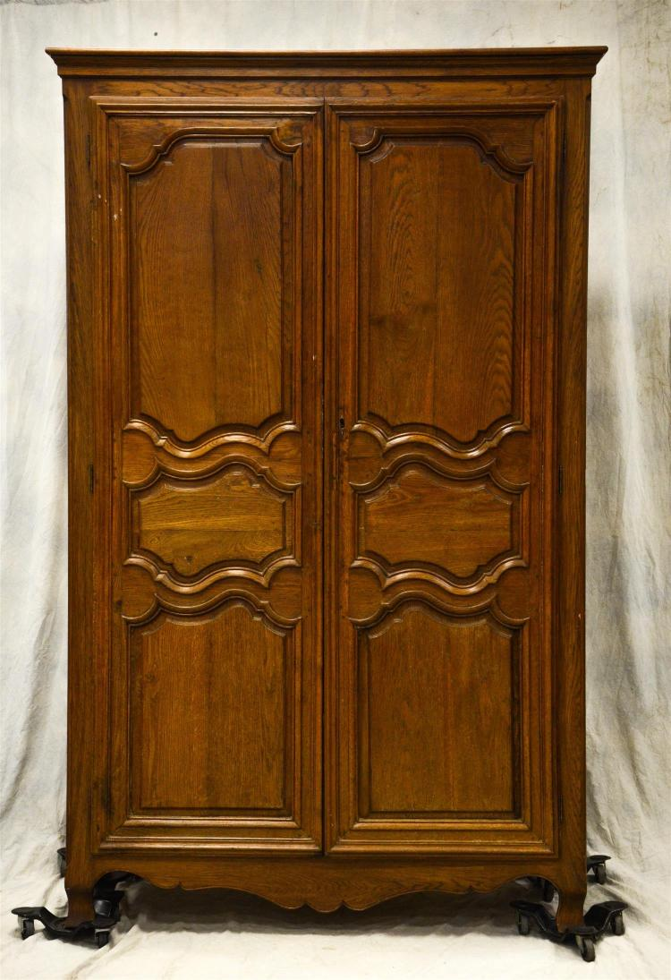 French style armoire, walnut frame, two doors, pegged doors, one shelf, newer tracking device, 87 1/2